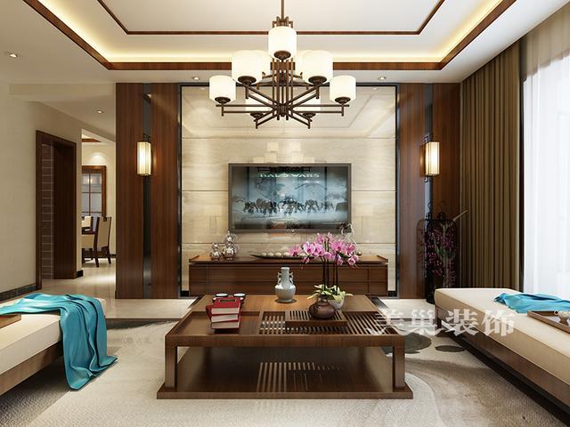 中式唯美手绘彩色线条花纹客厅背景墙效果图片免费... - 素材之家