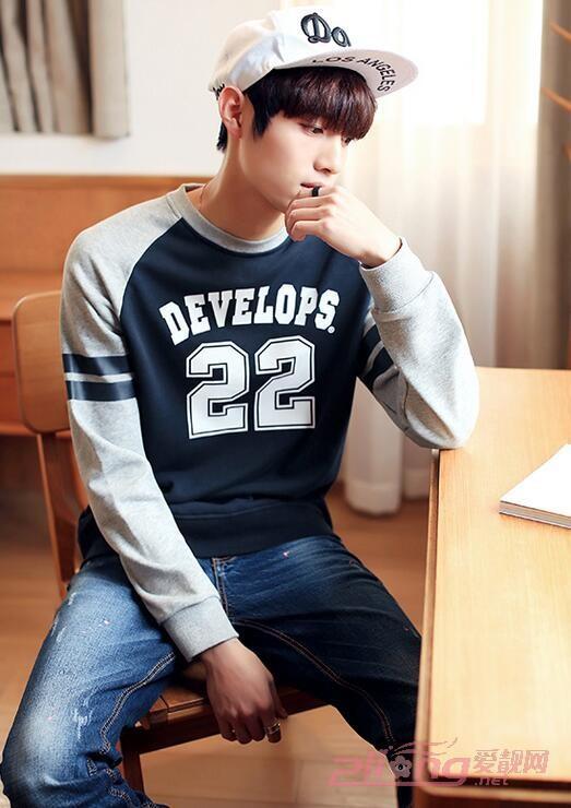 男士纯棉韩版修身长袖T恤