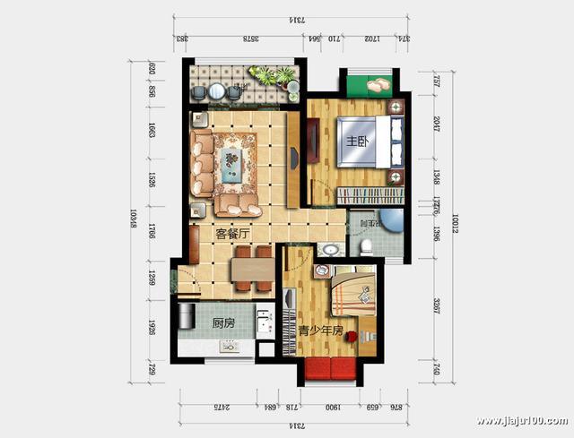 2房2厅72㎡新中式风格定制家具效果图,预算1.7万,小户型这样装省钱又省心