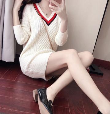 毛衣针织裙推荐第一波:秋冬中长款气质内搭打底连衣裙
