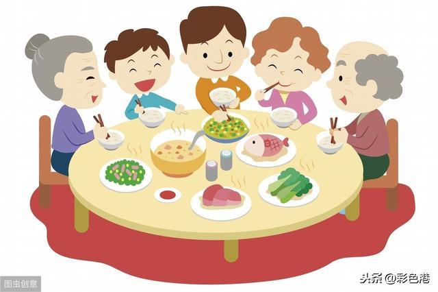 卡通春节喜庆一家人团圆饭手绘元素卡通手绘免... -千图网手机版