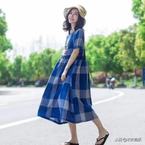 棉麻连衣裙中长款宽松