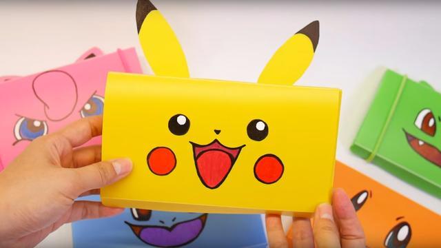 教你折纸皮卡丘文具盒,简单实用关键漂亮,带去学校小朋友都喜欢