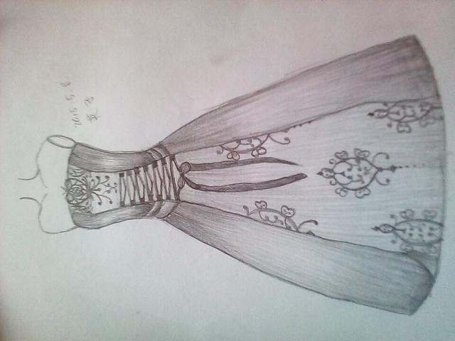 美美的婚纱素描手绘