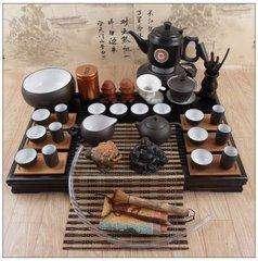 茶台茶具布置图片