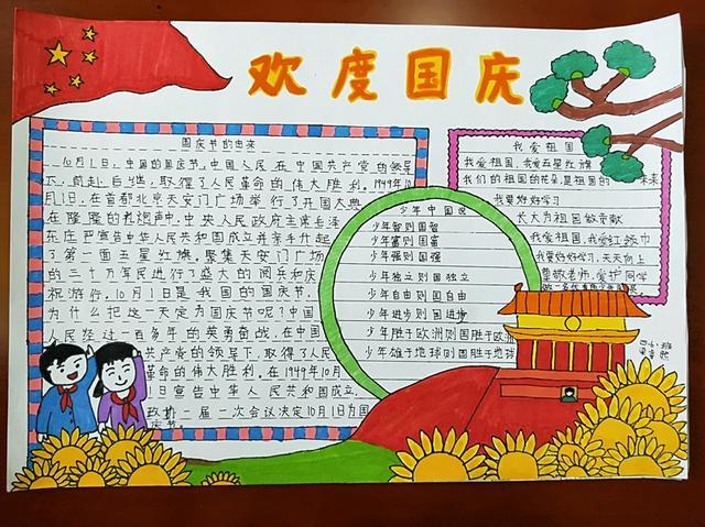 曲洲老师画卡通:国庆节手抄报