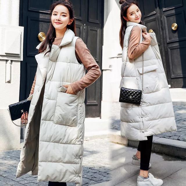 实拍19秋冬新款羽绒服韩版中长款金丝绒宽松马甲棉衣外套