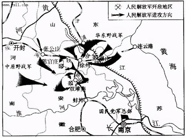 淮海战役示意图