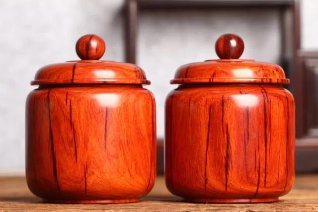 印度小叶紫檀拆房老料镶嵌黄杨内胆茶叶罐