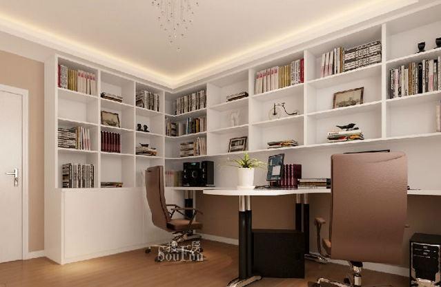 书桌书柜组合设计效果图 室内摆书桌书柜组合实用吗_齐家网