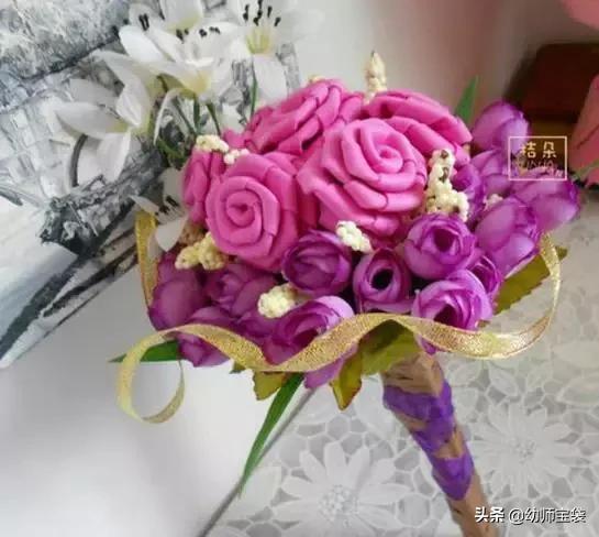 海绵纸玫瑰花制作图解_巧巧手幼儿手工网