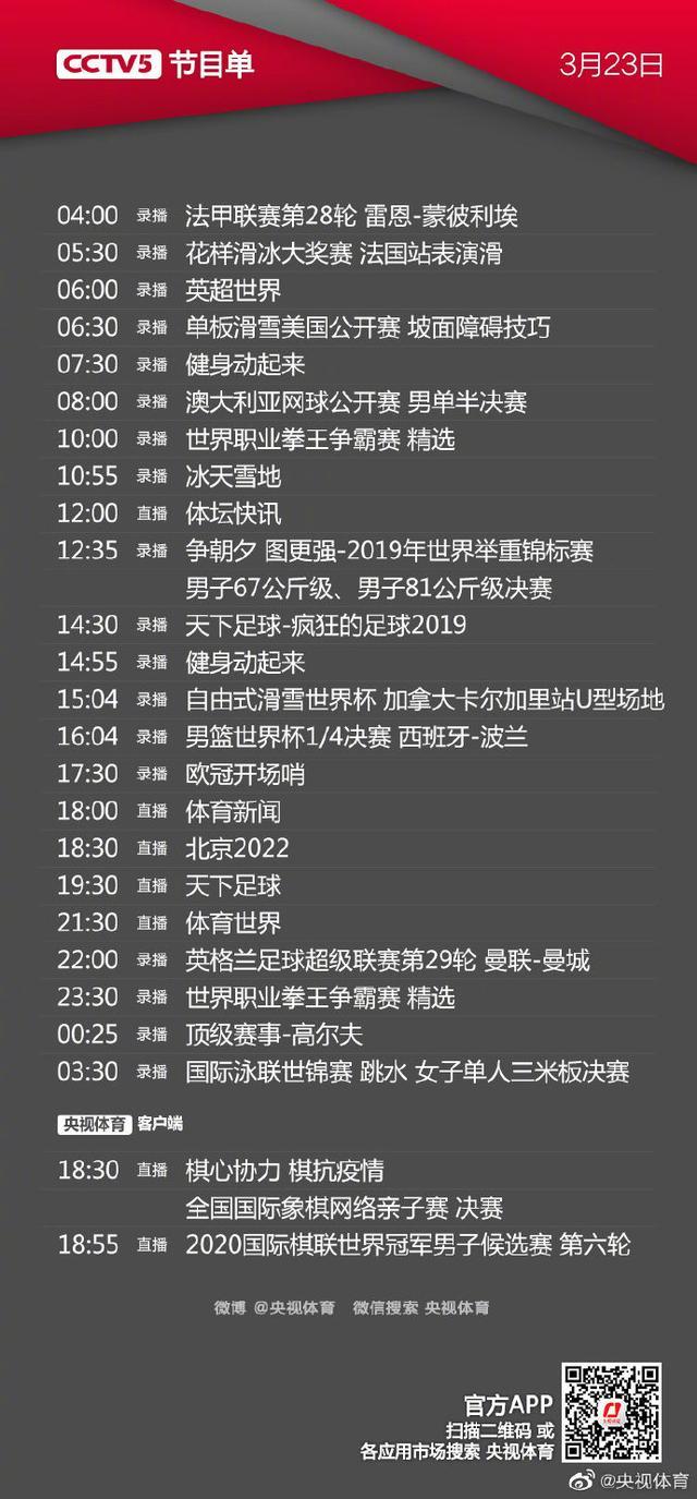 CCTV5今天节目单(11.27):直播这场中超夺冠比赛