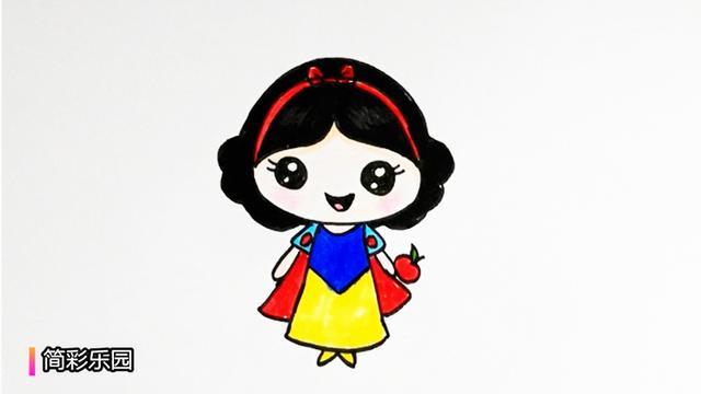 如何画公主简笔画-可爱的白雪公主