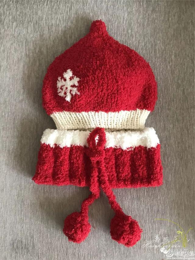 为孙子准备的新年红装,儿童棒针珊瑚绒奶嘴帽围巾套装