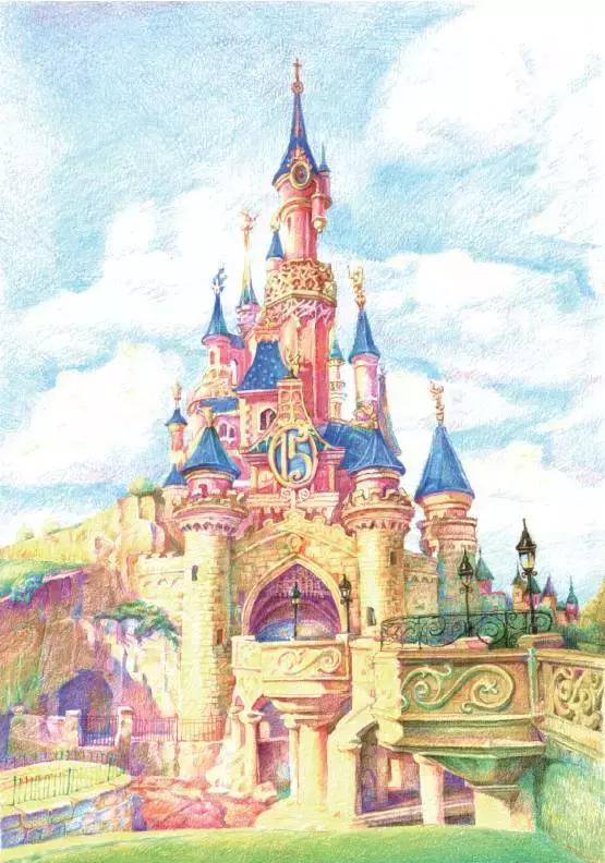 关于城堡的彩色铅笔画-美丽的城堡_铅笔画-查字典幼儿网儿童画
