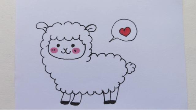 小羊简笔画彩色