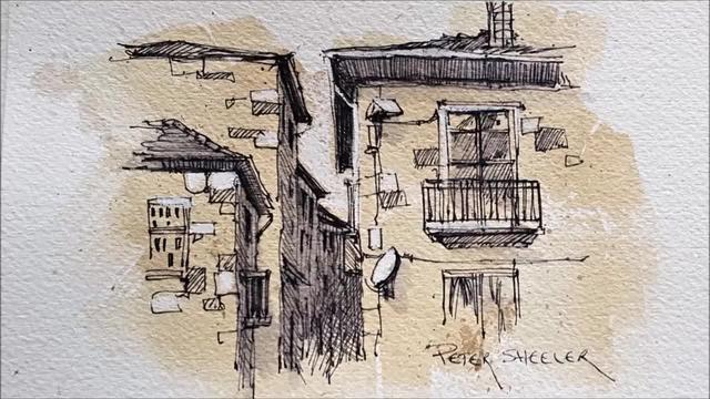 钢笔建筑画