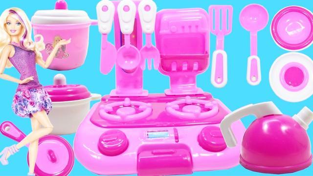 开箱芭比娃娃的全套厨房玩具,小朋友喜欢,可以玩过家家游戏性