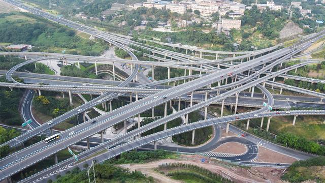 实拍重庆最复杂的立交桥——黄桷湾立交,5层、8个方向、20条匝道