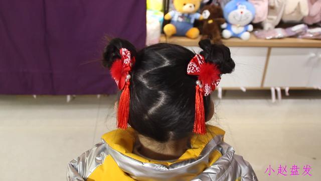 兒童髮飾中國風假髮女童流蘇飄帶公主丸子頭新年復古女... _淘宝