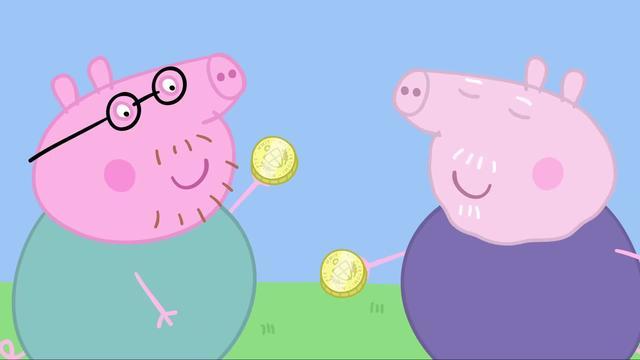 小猪佩奇:佩奇找宝藏,最后竟找到了金币,原来是巧克力做的!
