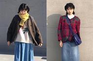春节甜美风穿搭,开衫毛衣搭配牛仔裙极具复古范,时尚又好看