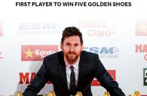 梅西领取2018-18赛季欧洲金靴:这是他第五次获此殊荣