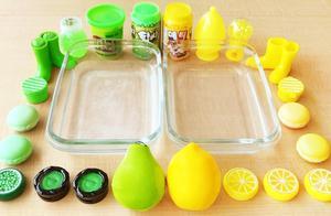 把过期化妆品混在无硼砂水晶泥里,梨和柠檬两种颜色你更喜欢哪种