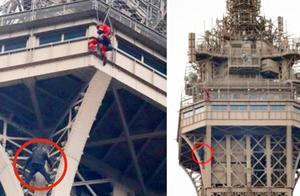 """想做""""蜘蛛侠?""""一男子徒手攀爬埃菲尔铁塔被捕"""