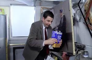 憨豆先生把世界名画给弄脏,到后厨用自己的方法处理,这段真是逗