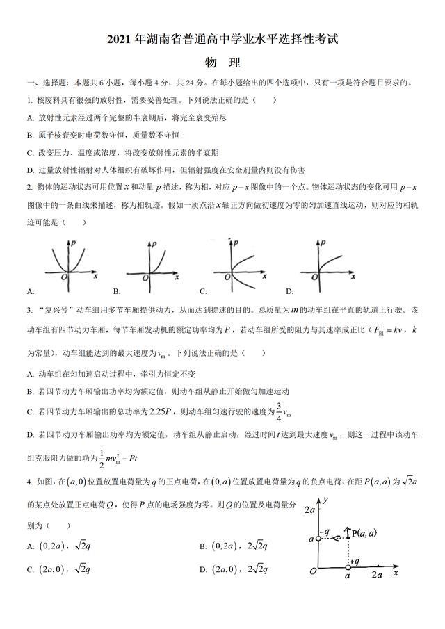【汽车检测站技能培训课】188-2021年湖南省语 数 英 物 化 生 政 史 地高考真题及答案分享给大家