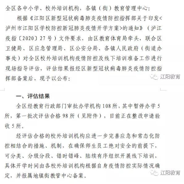 【平面设计技能培训学校】江阳区这98所校外培训机构,可有序恢复线下培训(附名单)