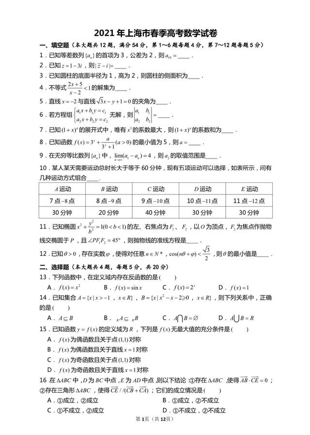 【职业技能培训行业风险点】2021年上海市春季高考数学试卷