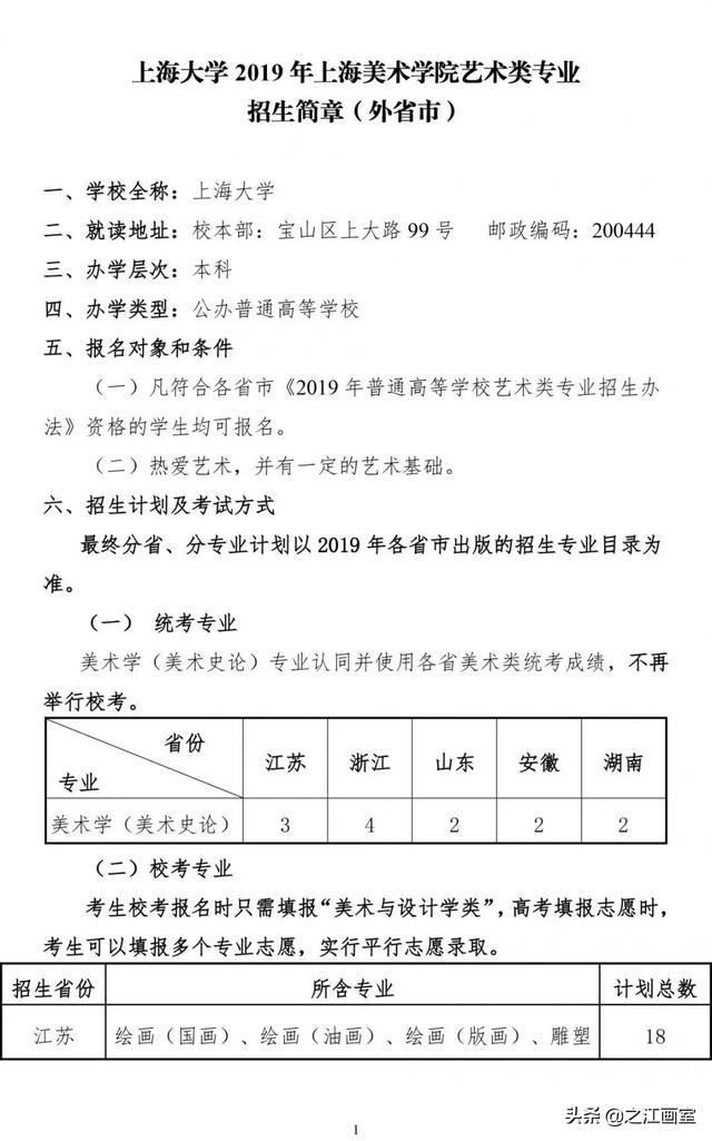 【消毒供应室技能培训】上海大学2019年上海美术学院艺术类专业招生简章(外省市)