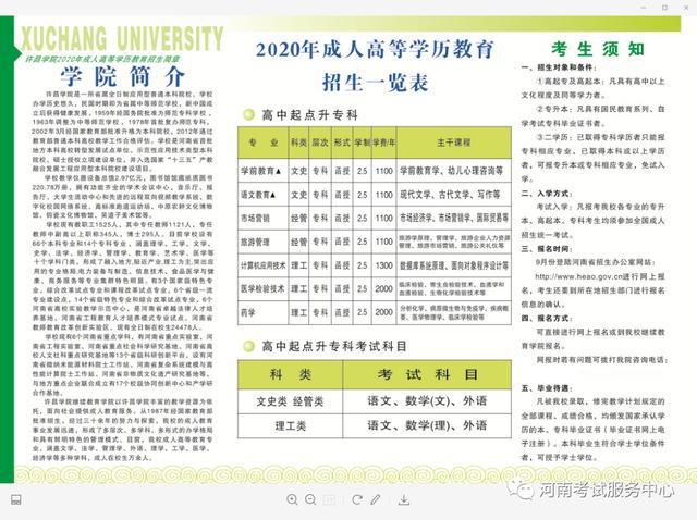 【提升员工技能培训的方法】许昌学院2020年成人高考招生简章