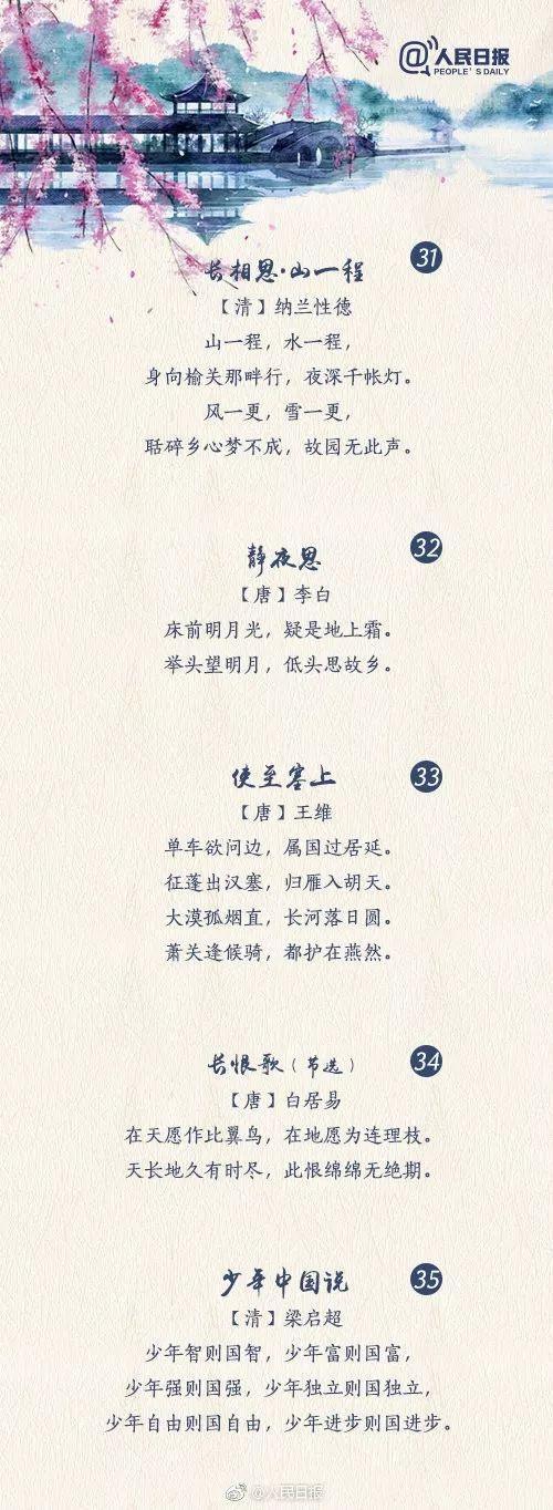 人民日报推荐:50首经典古诗文名句 精美图片版,可打印图片 No.7