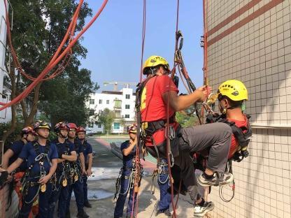 【安防工程企业职业技能培训】河源消防举办2021年高空绳索救援技术培训班