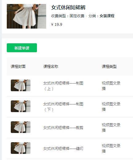 【大专职业技能培训费】服装缝纫课——女式休闲短裙裤的制图及缝纫